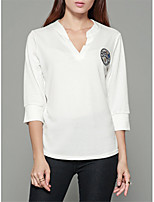 Women's Daily Holiday Casual Spring Fall T-shirt,Solid V Neck 3/4 Length Sleeves Polyester Thin