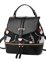Women Bags PU Backpack Pattern / Print Pockets Zipper for Casual Outdoor All Seasons White Black Dark Gray