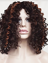 Women Synthetic Wig Capless Short Medium Length Wavy Jheri Curl Dark Auburn Highlighted/Balayage Hair Bob Haircut With Bangs Party Wig