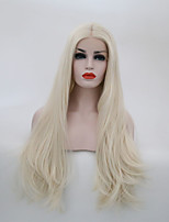 Women Synthetic Wig Lace Front Long Natural Wave Platinum Blonde Middle Part Natural Wigs Costume Wig