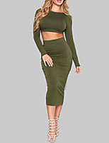 Women's Daily Sexy Spring Fall T-shirt Skirt Suits,Solid Round Neck Long Sleeve Backless Polyester Micro-elastic