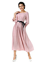 SHE IN SUN Women's Party Casual/Daily Chinoiserie Swing Dress,Solid Boat Neck Maxi 3/4 Length Sleeves Polyester All Seasons Fall Mid Rise Inelastic