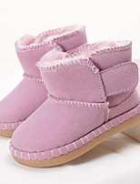 Girls' Shoes Cowhide Winter Comfort Boots Booties/Ankle Boots For Casual Blushing Pink Red Brown Yellow White