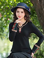 T-shirt Da donna Casual Vintage Stoffe orientali Ricamato A V Cotone Manica lunga