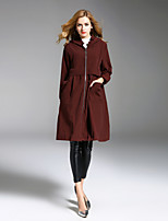 ALLA ONER Women's Going out Casual/Daily Simple Fall Winter Trench Coat,Solid Hooded Long Sleeve Long Nylon