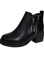 Femme Chaussures Polyuréthane Automne Hiver boîtes de Combat Bottes Talon Bas Bout rond Bottes Mi-mollet Fermeture Pour Décontracté Noir