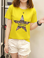 Women's Going out Casual T-shirt,Solid Print Round Neck Short Sleeves Cotton