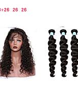 Недорогие -Натуральные волосы Реми Перуанские волосы Свободные волны Наращивание волос 4 Черный