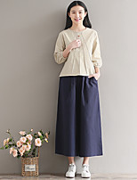 Women's Daily Shirts Shirt,Solid Round Neck 3/4 Length Sleeves Linen