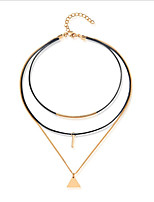 Women's Layered Necklaces Geometric Leather Gold Plated Multi Layer Fashion Jewelry For Casual Office & Career