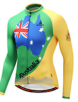 Miloto Cycling Jersey Men's Long Sleeves Bike Jersey Stretchy Autumn/Fall Winter Cycling Green/Yellow