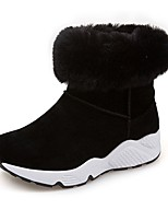 Women's Shoes Suede Fall Snow Boots Boots Flat Heel Round Toe Split Joint For Casual Gray Black