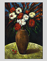 Hand-Painted Floral/Botanical Vertical Panoramic,Flower One Panel Canvas Oil Painting For Home Decoration