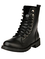 Women's Shoes Leatherette Winter Combat Boots Boots Flat Heel Round Toe For Casual Dress Black