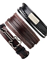 Men's Women's Leather Bracelet Wrap Bracelet Handmade Adjustable Leather Round Guitar Jewelry For Gift Going out