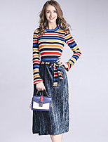 DFFD Women's Holiday Casual/Daily Vintage Boho Fall Winter Sweater Skirt SuitsStriped Round Neck Long Sleeve Micro-elastic