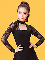 Latin Dance Women's Performance Ice Silk Lace Long Sleeve Tops