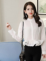 Women's Going out Cute Blouse,Solid Stand Long Sleeves Faux Fur Rayon