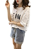 Women's Going out Cute Casual T-shirt,Solid Letter Round Neck Short Sleeves Cotton