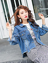 Veste en jean Femme,Couleur Pleine Décontracté / Quotidien simple Automne Manches longues Col de Chemise Normal Coton