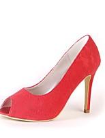Femme Chaussures Dentelle Printemps Automne Escarpin Basique Chaussures de mariage Bout ouvert Pour Mariage Soirée & Evénement Rouge