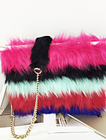 Women Bags All Seasons Suede Clutch Feathers / Fur for Shopping Casual Rainbow