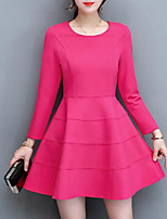 Women's Plus Size Going out Simple Sheath Dress,Solid Round Neck Above Knee Long Sleeves Polyester Fall Mid Rise Inelastic Medium