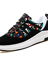 Men's Shoes Fabric Fall Comfort Sneakers Lace-up For Outdoor Rainbow Black