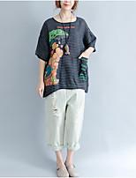 T-shirt Da donna Casual Semplice A strisce Con stampe Rotonda Cotone Manica corta