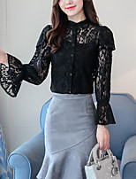 Women's Going out Casual/Daily Sexy Boho Blouse,Solid Round Neck Long Sleeves Cotton