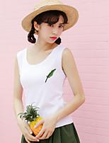 Women's Casual/Daily Cute Tank Top,Print U Neck Sleeveless Cotton