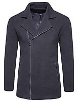 Standard Cardigan Da uomo-Casual Semplice Tinta unita Molto stondata Manica lunga Cotone Primavera Inverno Medio spessore Media elasticità