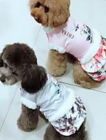Chien Robe Vêtements pour Chien Décontracté / Quotidien Garder au chaud Floral/Botanique Gris Rose