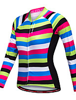 WOSAWE Cycling Jersey Women's Long Sleeves Bike Jersey Top Quick Dry Polyester Stripe Autumn/Fall Spring Mountain Cycling Road Cycling