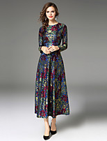 Maxlindy Women's Party Going out Casual/Daily Sexy Vintage Sophisticated A Line Dress,Embroidered Round Neck Midi Long Sleeves Polyester Fall