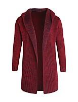 Standard Cardigan Da uomo-Casual Semplice Tinta unita Colletto Manica lunga Poliestere Inverno Spesso Media elasticità