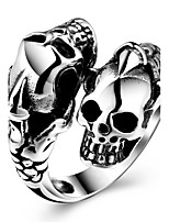 Men's Knuckle Ring Band Rings Vintage Hip-Hop Stainless Steel Copper Skull Jewelry For Halloween Street