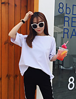 Women's Going out Casual T-shirt,Solid Round Neck Short Sleeves Cotton