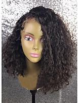 Women Human Hair Lace Wig Brazilian Human Hair 360 Frontal 250% Density Asymmetrical Haircut With Baby Hair Wig Black Short Medium Length
