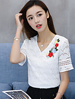 Women's Going out Cute Summer T-shirt,Embroidery V Neck Short Sleeves Cotton Medium