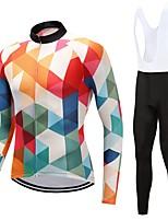 Maillot et Cuissard Long à Bretelles de Cyclisme Unisexe Manches Longues Vélo Ensemble de Vêtements Séchage rapide Graphique Automne