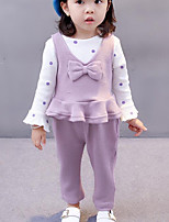 Girls' Solid Polka dots Clothing Set,Cotton Winter Fall Long Sleeve Red Lavender