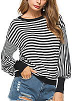 Women's Daily Going out Casual Sexy Summer Fall T-shirt,Striped Round Neck Long Sleeves Polyester Medium