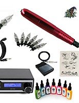Starter Tattoo Kit 1 rotary machine liner & shader Tattoo Machine LED power supply 7 × 15ml Tattoo Ink 5 x disposable grip