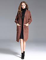 8CFAMILY Women's Going out Casual/Daily Street chic Sophisticated Long Cardigan,Solid Hooded Long Sleeves Faux Fur Winter Thick Micro-elastic