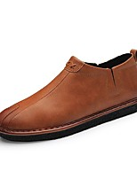 Men's Shoes Leatherette Spring Fall Comfort Loafers & Slip-Ons Split Joint For Casual Brown Gray Black