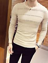 Men's Work Simple Regular Pullover,Solid Round Neck Long Sleeves Acrylic Fall Medium Micro-elastic