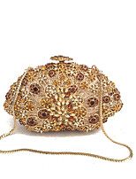 Women Bags All Seasons Metal Evening Bag Crystal Detailing for Wedding Event/Party Formal Blue Gold