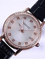 Women's Fashion Watch Quartz Calendar Water Resistant / Water Proof Leather Band Sparkle Elegant Black White Red