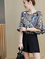 Women's Going out Casual/Daily Street chic Summer Blouse Pant Suits,Print Round Neck Half Sleeves